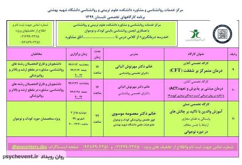 کارگاه روانشناسی دانشگاه شهید بهشتی